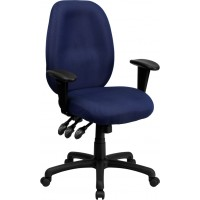 High Back Fabric Multi-Functional Ergonomic Task Chair with Arms - 4 Seat Options