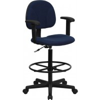 Patterned Fabric Ergonomic Drafting Stool - Optional Arms Available