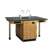 "UV Finish Solid Oak Wood 4 Station Service Center with Sink, 66""W - 2 Top Types"