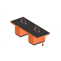 "UV Finish Solid Oak Wood 8 Station Service Center with Sink, 132""W - 2 Top Types"