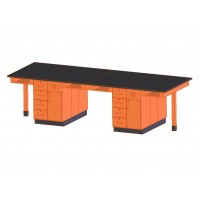 "UV Finish Solid Oak Wood 8 Station Service Center, 132""W - 2 Top Types"