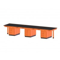 """UV Finish Solid Oak Wood 12 Station Service Center, 198""""W - 2 Top Types"""