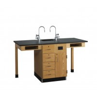 "UV Finish Solid Oak Wood 2 Station Service Center with Sink, 66""W - 2 Top Types"