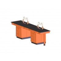 "UV Finish Solid Oak Wood 4 Station Service Center with Sink, 132""W - 2 Top Types"