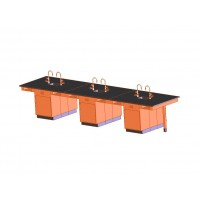 """UV Finish Solid Oak 8 Station Service Center with Full Cupboard, 132""""W - 2 Top Types"""