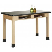 "UV Finish Table with Book Compartment and Plastic Laminate Top, 54""W - 2 Wood Options"