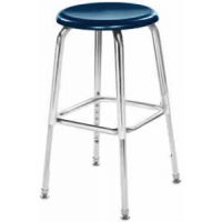 "Columbia Manufacturing 17-24"" Adj. Height Hard Plastic Stool - Blue Seat and Chrome Frame"