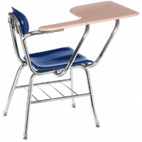 """Columbia Manufacturing 17.5"""" Seat Height Tablet-Arm Chair-Desk with Book Rack - Blue Seat, Sand Top and Chrome Frame"""
