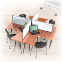 Panels shown configured with desks and chairs, which are sold separately.