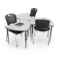 Economy Shape Desks shown with Grey Nebula top. Chairs and accessories sold separately.