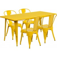 31.5'' x 63'' Rectangular Metal Indoor Table Set with 4 Stack Chairs