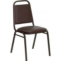 Signature Series Trapezoidal Back Stacking Banquet Chair with Brown Vinyl and 1.5'' Thick Seat - Copper Vein Frame