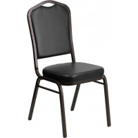 Signature Series Crown Back Stacking Banquet Chair 2.5'' Thick Seat - Gold Vein Frame - 4 Seat Options
