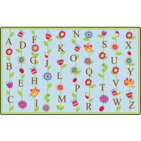 Blooming Alphabet in Blue Educational Rug