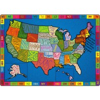 My America Doodle Map Educational Rug