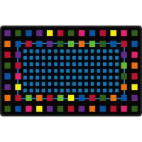 Rebordered Squares in Black Educational Rug