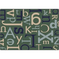 Text in Teal Educational Rug