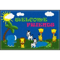 Welcome Mat Friends Safari 2' x 3' Educational Rug
