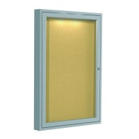 Ghent Aluminum Frame Enclosed Natural Cork Tackboards with Concealed Lighting - Multiple Sizes with 1, 2 or 3 Doors