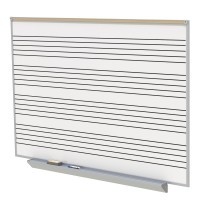 Ghent A2M Style Porcelain Magnetic Whiteboard with Music Staff with 4 Markers & Eraser - Two Sizes