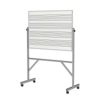 Ghent Aluminum Frame Reversible Porcelain Magnetic Whiteboard with 4 Markers & Eraser - Music Staff on One or Both Sides in Two Sizes
