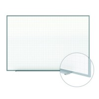 "Ghent Phantom Line Magnetic Whiteboard - 2"" x 2"" Grid Pattern - Aluminum Frame - Multiple Sizes"