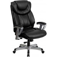 Signature Series 400 lb. Capacity Big & Tall Black Leather Office Chair with Arms- 2 Seat Options