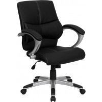 Mid-Back Black Leather Office Chair - 2 Seat Options