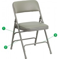 Signature Series Curved Triple Braced & Quad Hinged Upholstered Metal Folding Chair - 5 Seat Options