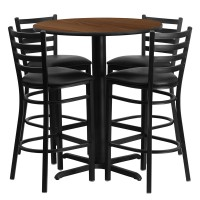30'' Round Laminate Table Set with 4 Ladder Back Metal Bar Stools - Black Vinyl Seat - 4 Table Colors