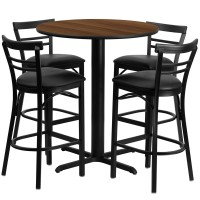 24'' Round Walnut Laminate Table Set with 4 Ladder Back Metal Bar Stools - Black Vinyl Seat - 4 Table Colors