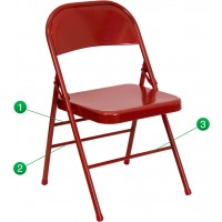 Signature Series Triple Braced & Double Hinged Metal Folding Chair - 4 Seat Options