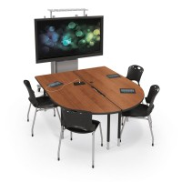 Large MediaSpace Tables shown with amber cherry top and black frame. Chairs and accessories not included.