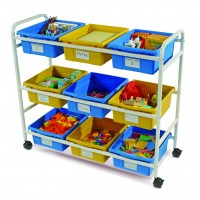 Copernicus Multi-Purpose Cart with Blue & Yellow Tubs
