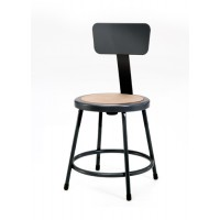 NPS 6200B-10 Series Black Lab Stools with Round Hardboard Seat & Back - Two Fixed & Two Adjustable Heights