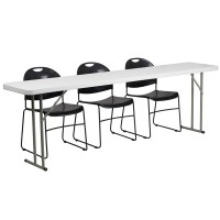 18'' x 96'' Plastic Folding Training Table with 3 Black Plastic Stack Chairs