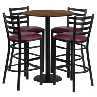 30'' Round Laminate Table Set with 4 Ladder Back Metal Bar Stools - 4 Styles Available