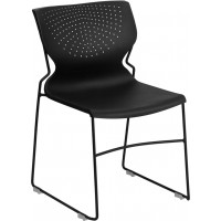 Signature Series 661 lb. Capacity Full Back Stack Chair with Black Frame - Black