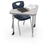 Chair shown sold separately. Desk shown with platinum frame and Gray Nebula Top.
