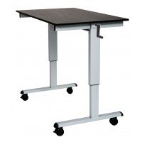 "Luxor STANDCF48-AG/BO 48"" Crank Adjustable Stand Up Desk - Black Oak Top & Silver Frame"