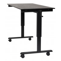 "Luxor STANDCF60-BK/BO 60"" Crank Adjustable Stand Up Desk - Black Oak Top & Black Frame"