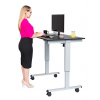 "Luxor STANDE-48-AG/BO 48"" Electric Standing Desk - Black Oak Top & Silver Frame"