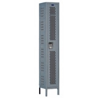 "Hallowell Heavy-Duty Ventilated (HDV) Locker, 18""W x 18""D x 78""H, 725 Hallowell Gray, Single Tier, 1-Wide"