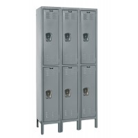 "Hallowell Premium Locker, 36""W x 18""D x 66""H, 725 Hallowell Gray, Double Tier, 3-Wide"