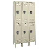 "Hallowell Galvanite Locker, 36""W x 18""D x 78""H, 729 Parchment, Double Tier, 3-Wide"