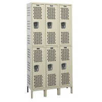 "Hallowell Heavy-Duty Ventilated (HDV) Locker, 36""W x 15""D x 78""H, 729 Parchment, Double Tier, 3-Wide"