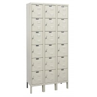 "Hallowell Galvanite Locker, 36""W x 15""D x 78""H, 729 Parchment, 6-Tier, 3-Wide"