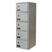 "Hallowell Cell Phone/Tablet Locker, 9""W x 12""D x 30-1/2""H, 711 Platinum, 5-Tier, 1-Wide"