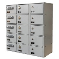 "Hallowell Cell Phone/Tablet Locker, 27""W x 12""D x 30-1/2""H, 711 Platinum, 5-Tier, 3-Wide"