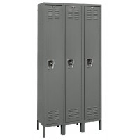 "Hallowell ReadyBuilt Locker, 36""W x 18""D x 78""H, 725 Hallowell Gray, Single Tier, 3-Wide"